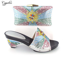 New coming silver with color stones design African slipper shoes with evening bag set 121-2, heel height 8cm(China)