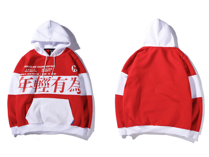 Color Block Letter Printed Pullover Fleece Hoodies 2