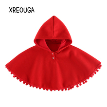 Baby Girls Christmas Hooded Cape Coat Knitted Tassels Red Cloak Jackets Outerwear Toddler Girl Woolen Winter Poncho Clothes EZ26(China)