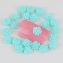 50Pcs/Lot Women Cheap Nail Jewelry Retail Blue Color Flowers Nail Tip Decoration 3D Resin Nail Art Charm Material Supply WY53