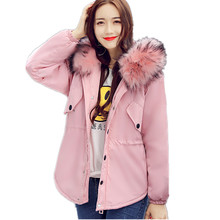 Winter Large Faux Fur Fashion BF Loose Warm Jacket Women Students Hood Parka Cotton Padded Jacket Outerwear Big Size TT3081(China)