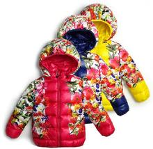 2017 New Childrens Outerwear Kids Girls Winter Flowral Coats Girl's coat warm jackets Baby Girl's outwear hoodie