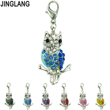 JINGLANG Fashion Charms With Lobster Clasp Dangle 6 Color Rhinestone Owl Charms Animals DIY Pendant Jewelry Making Accessories(China)