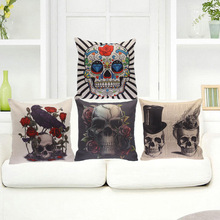 Horrible Skull Decorative Cushion Cover Punk Style Cotton Linen Pillow Cover Pillow Case45x45CM Square Throw Cushion Home Decor