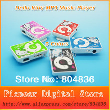New Arrival Free Shipping Hot Sell 10pcs/lot Cute Hello Kitty MP3 Music Player Gift MP3 Player Support Micro TF Card 5 Colors