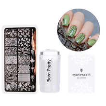 BORN PRETTY 3Pc Stamping Tool Set 2.8cm Clear Jelly Silicone Stamper Flower Vine Stamping Plate and Nail Scraper Kit 18 Patterns(China)