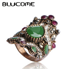Blucome Vintage Big Resin Rings For Women Green Turkish Jewelry Bijuterias Engagement Ring Anel Aneis Finger Party Accessories