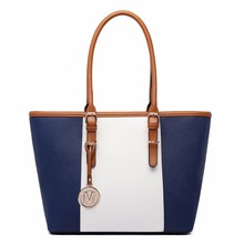 Miss Lulu Women Designer Celebrity Navy Patchwork Handbag PU Leather Shoulder Tote Bag E1661 NY