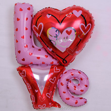 Large Size Love Letter Shaped Foil Balloons Wedding Decoration Balloons Valentines Birthday Globos Party Supplier Free Shipping(China)