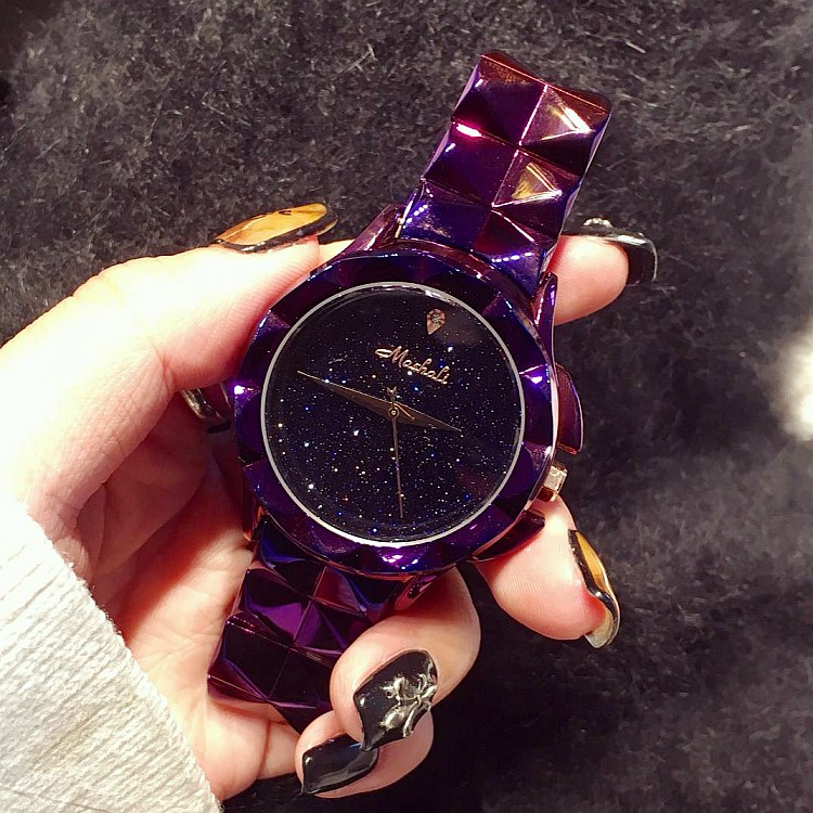 Excellent Qulaity Women Watch!Luxury  Fashion Crystal Bracelet Watch Female Starry Sky Dress Watch Ladies Colorful Wristwatches<br>