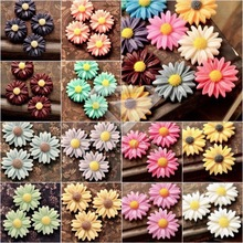 12/15Pcs Resin Vintage Style Daisy Flower Flat Back Cameo Cabochon 13x13x4mm For Jewelry Making Accessories Wholesale RB0742(China)
