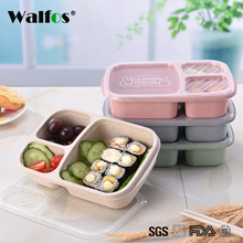 WALFOS New Fashion Wheat Non-pollution Microwave Bento Lunch Box Picnic Food Container Storage Box lunch bax