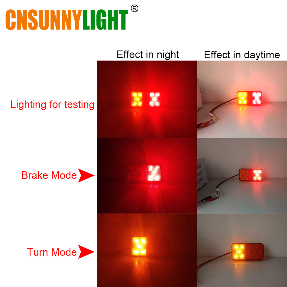 CNSUNNYLIGHT LED Car Truck Stop Rear Tail Brake Reverse Light Turn Indiactor 12V 24V ATV Trucks Trailer Lamps Tailight Assembly (3)