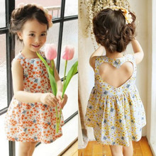 2017 girl dress / gardening dress / floral dress / country dress / back heart cut out(China)