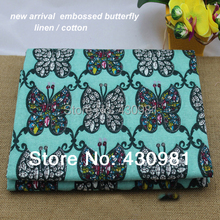 wholesale meter cotton linen fabric for clothing patchwork sewing material silver green butterfly fabric natural linen
