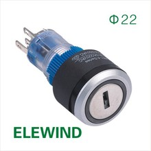 ELEWIND 22mm Round illuminated key lock switch (PB223WY-11Y/21B/G/12V)(China)