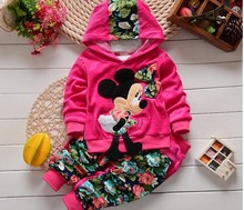 2016 New Autumn Fashion Kids clothes Cartoon Design Minnie Cotton Hooded Full Sleeve baby Clothing Set babi Suit