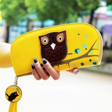 New Arrival Stereoscopic Printing Rounded Zipper Long Women Wallet Ladie Clutches Cute Owl Wallet  Change Purses Card Holder
