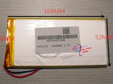 best battery brand ATL 6052103 3.7V 3200mAh Lithium Polymer Rechargeable Battery 6MM*52MM*103MM(China)