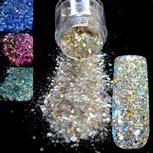 Dazzling Radiancy Transparents Sequins Dust DIY Nail Glitter Decorations Nail Art Designs Gold Acrylic UV Mix Glitter Powder