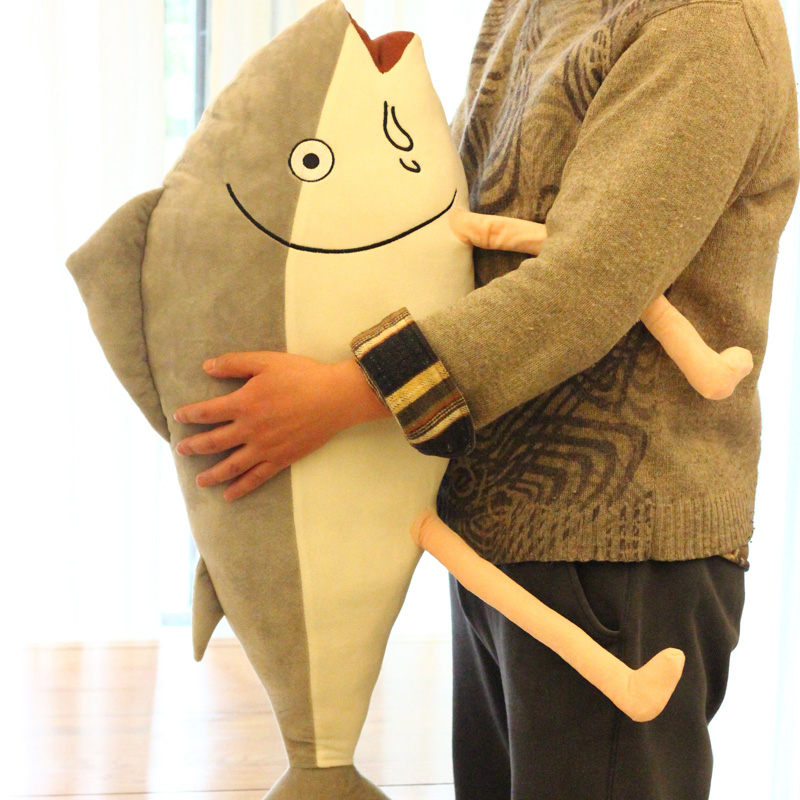 80cm New Style Sea Fish Plush Toys Gray Fish Pillow Cushion stuffed animals toys birthday Gift kids doll<br>