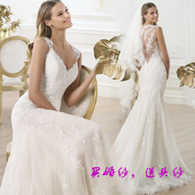 French lace flower small trailing dress sexy backless bride perspective 2016 fishtail wedding dress