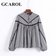 GCAROL New Plaid Vintage Women Crop Blouse High Quality Lantern Sleeve Tops British Style Oversize Female Shirt For 4 Season