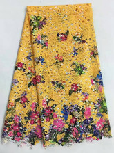 5 Y/pc Nice looking yellow african milk silk lace fabric with prints flower and butterfly design french lace for dress RM4-12