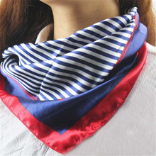 Feitong New Hot Satin Silk Square Scarf Women Fashion Four Seasons Occupation Stripe Silk Satin Scarves