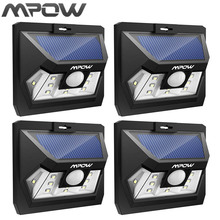 Mpow 4PCS Mini 10 LED Solar Power Lighting Security Waterproof Outside Wall Panel Lampion Fence Garden Deck Yard LED Night Lamp
