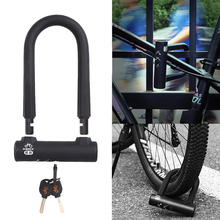 U Shaped Steel Lock Durable Motorcycle Mountain Bike Silicone Cover Security Lock with 3 Keys C Grade Copper Lock Cylinder(China)