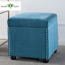 Jennifer Taylor Home, Storage Ottoman, Blue, Velvet, Hand Applied Nail heads, Wooden Legs