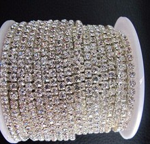 SS 16 crystal rhinestone trimming for hairpins with ribbons cup chain rhinestone 4mm with 10 yards each roll
