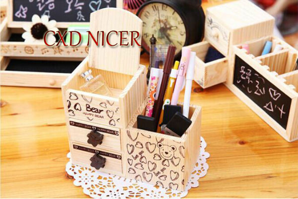 Fashion Tower Beard Desktop Hollow Wooden Pen Holder Office Stationary Supplies Accessories Double Drawer Pencil Holder Dd252 8