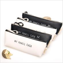 Best Deal Triangle My Pencil Case Classical Black And White Color Waterproof Pu Leather Storage Cosmetic Bag(China)