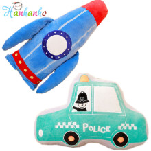 Creative Police Car&Rocket Plush Toy Kids Cushion Bedroom Decor Baby Stuffed Soft Doll Birthday Gift(China)