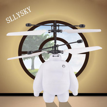 "RC Helicopters Electronic Toys""Big Hero 6"" IR Sensor toy Baymax Flying Robot  hatter Mini Remote Control Aircraft for kids"