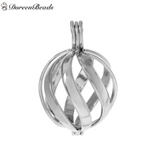 DoreenBeads Silver Tone Copper Wish Box Pendants Round Twisted Stripe Hollow Can Open (Fit Bead Size: 16mm) 3.3cm x2.3cm, 1 PC
