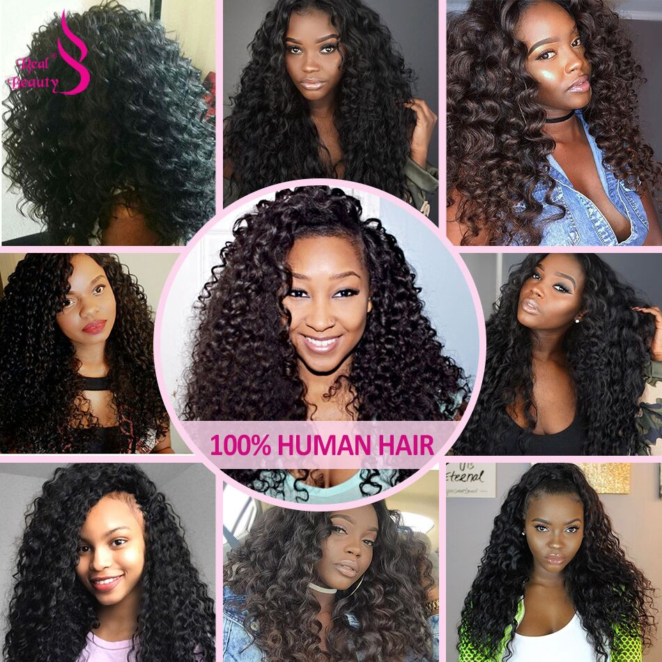 Real Beauty Brazilian afro Kinky Curly Hair Weave 3 Bundles Deals 8-26 Human Hair Bundles Natural Color None Remy Hair Weave