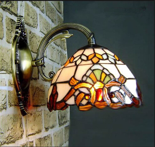 Iron industrial loft outdoor pendant lamp globe multipurpose hanging vintage baroco style tiffany wall lamp with stained glass shade wall lights for aisle indoor deco aloadofball Images