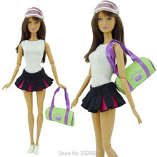 Fashion Sport Outfit Tennis Apparel Summer Clothing White Vest Pleated Skirt Hat Bag Shoes Clothes For Barbie FR Doll Baby Toys