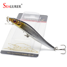 Sealurer Brand 1pcs Minnow Fishing Lures 8CM 5.5G 8# Hooks Fish Minnow Lure Tackle Hard Bait Pesca Wobbler Artificial Swim bait(China)