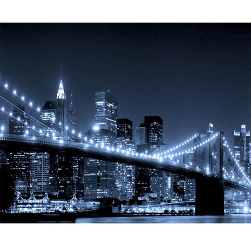 New York Brooklyn bridge Night Landscape image 3D DIY diamond painting mosaic cross stitch diamond embroidery FULL DIAMOND LK1