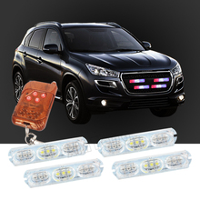 Wireless Remote 4x9/led Ambulance Police light DC 12V Strobe Warning light for Car Truck Emergency Light Flashing Firemen Lights