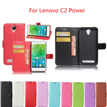 Hot Lenovo C2 Power 5.0inch Case Wallet Style PU Leather Mobile Phone Protective Back Cover For Lenovo C2 Power Phone Case(China)