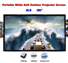150 inches 16:9 Portable Wall Mounted Matt White Soft Curtain Folding Outdoor Projector Screen for LED LCD HD Movie Projection