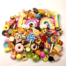 Resin cakes,ice cream,clay Rainbow,lollipop.donut.resin Kawaii,resin Food Dessert for Phone shell Decoration,Free Shipping!mixed(China)