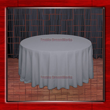 "Hot Sale  132"" R  Charcoal Round Table Cloth Polyester Plain Table Cover for Wedding Events &Party Decoration(Supplier)"