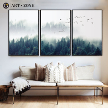 ART ZONE Nordic Bos Landschap Wall Art Canvas Poster Print Canvas Schilderij Decoratieve Voor Woonkamer Home Decor Poster(China)
