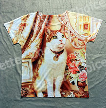 Track Ship+Vintage Retro Rock&Roll Punk T-shirt Top Tee Yellow Cat Artistic Photo in House with Necklace 0132(Hong Kong)